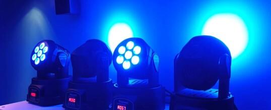TESTE MOBILI BeamZ MHL74 Mini Moving Head Wash 7X 10W DMX 12-Channel Quad testa LED teste mobili