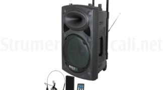 SISTEMA AMPLIFICATO PORTATILE CON LETTORE USB, BLUETOOTH, 2 MICROFONI VHF 700W