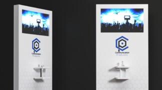 Allestimenti Visual personalizzati – totem dotati di monitor e grafiche